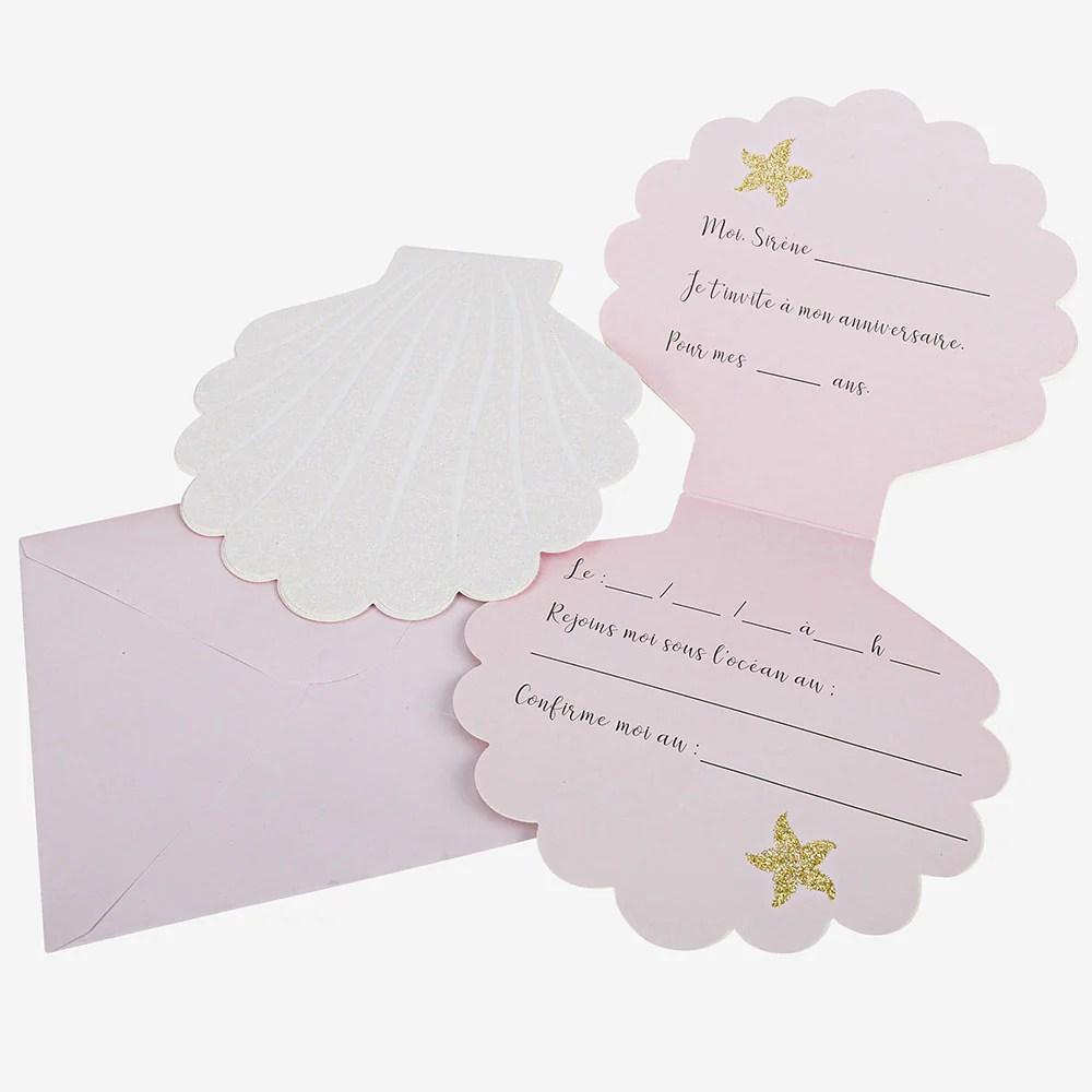 carte invitation anniversaire sirene coquillage 8