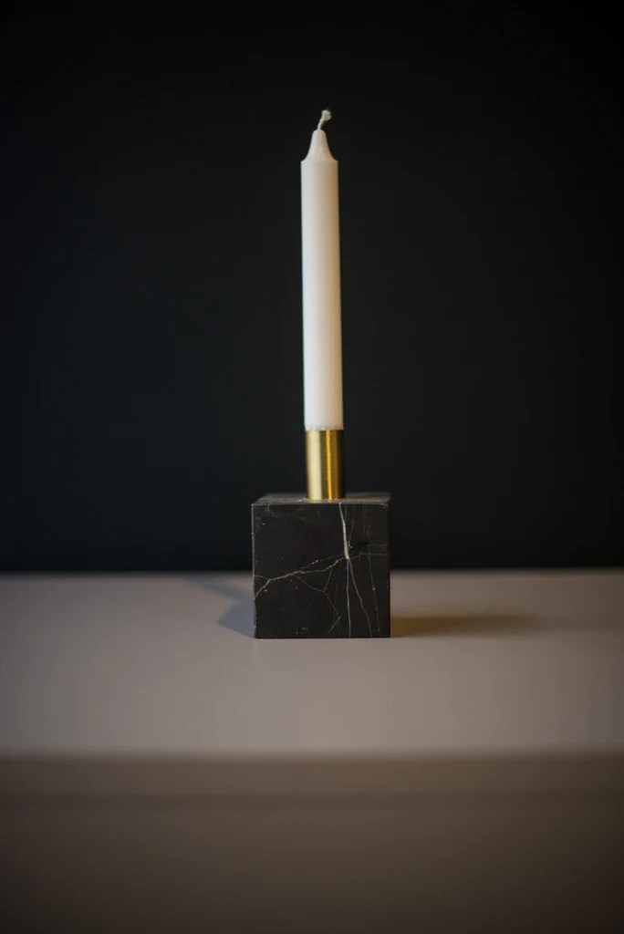 New Works Black Marble Candle Holder 28 Q