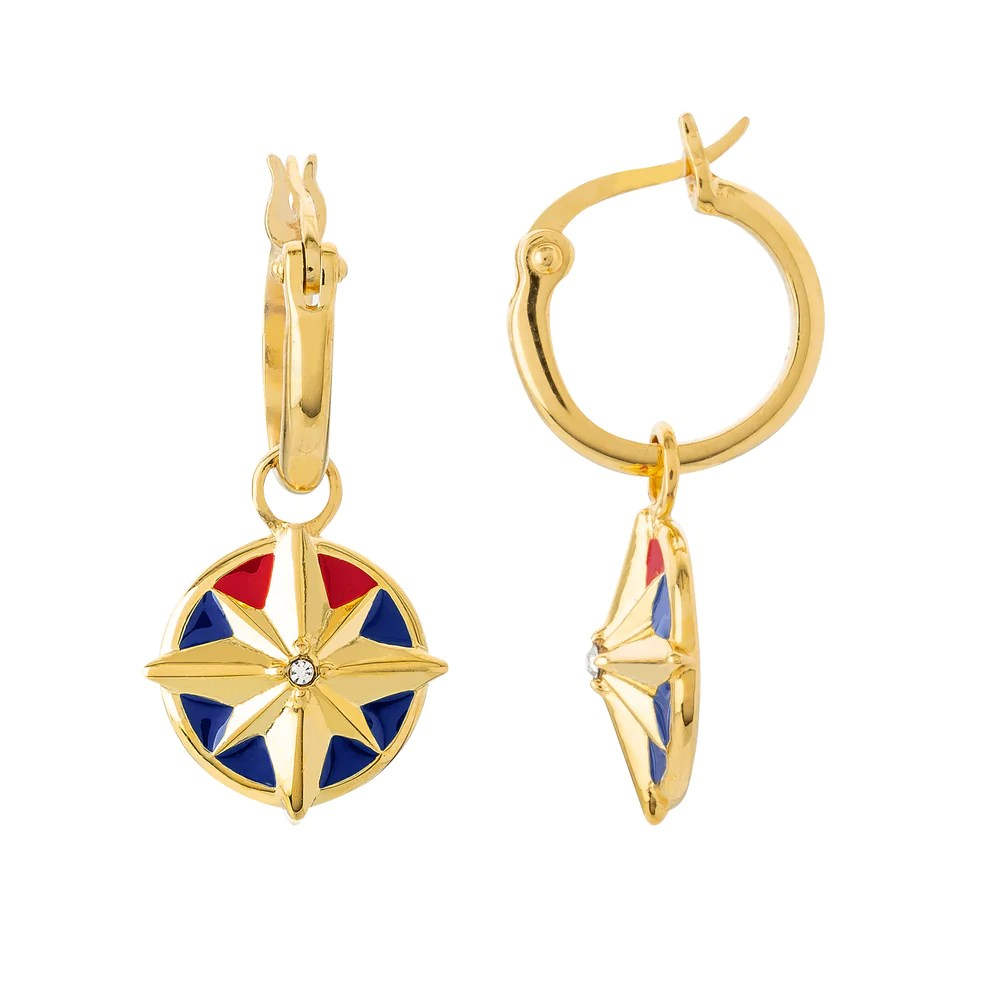 marvel x rocklove captain marvel enamel hala star hoop earrings