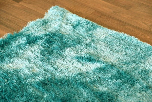 Plush Teal Luxurious Modern Shag Rug Woodwaves