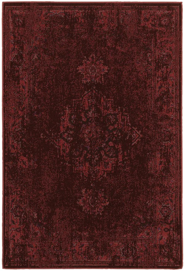 Dark Red Worn Persian Style Rug Woodwaves