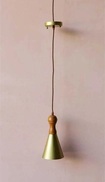 Mid Century Modern Gold Cone Pendant Woodwaves