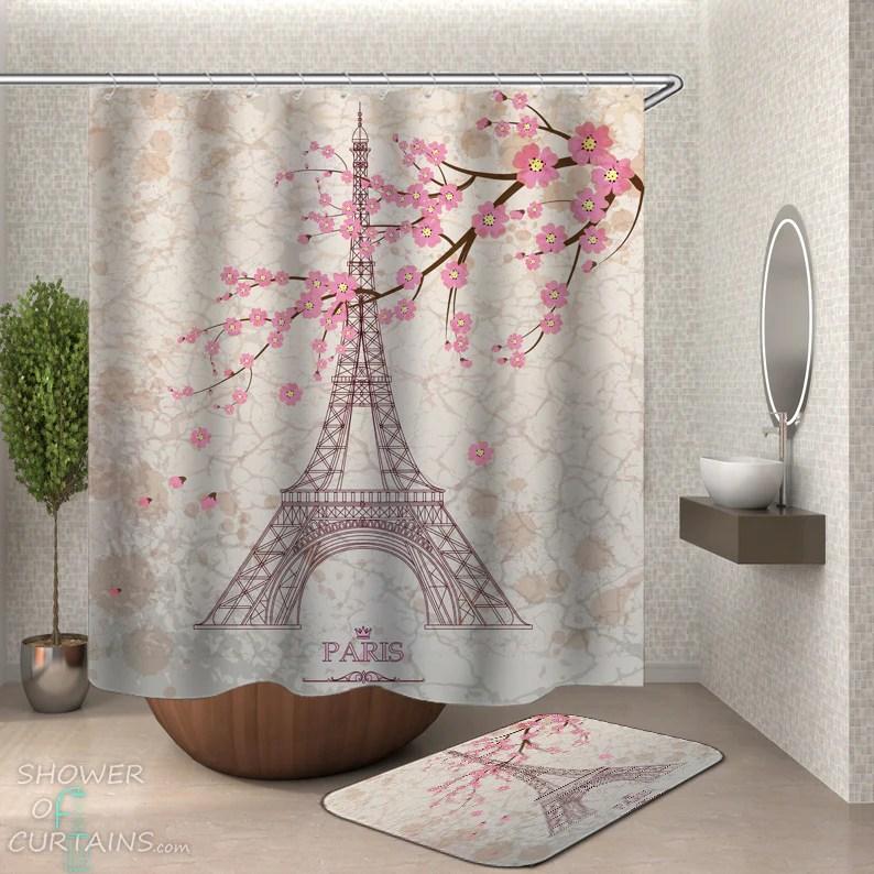 shower curtains eiffel tower paris cherry blossom shower of curtains