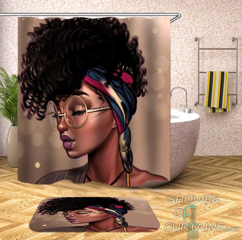 gorgeous black girl shower curtain