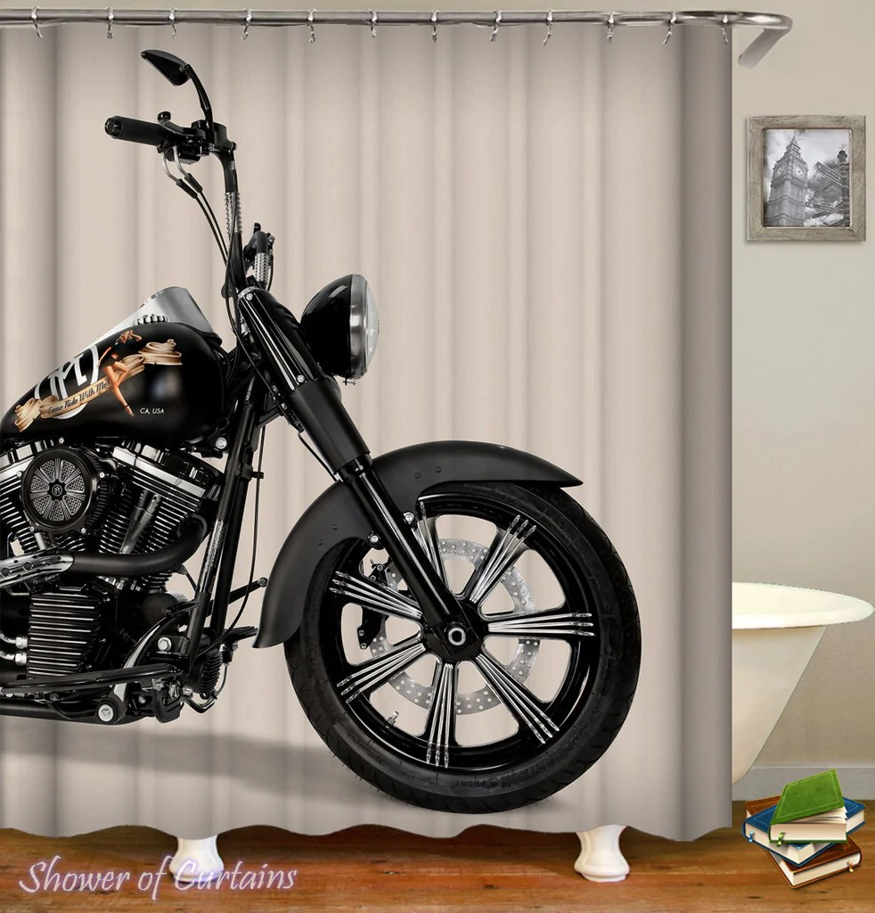 shower curtains bathroom motorcycle ride shower of curtains