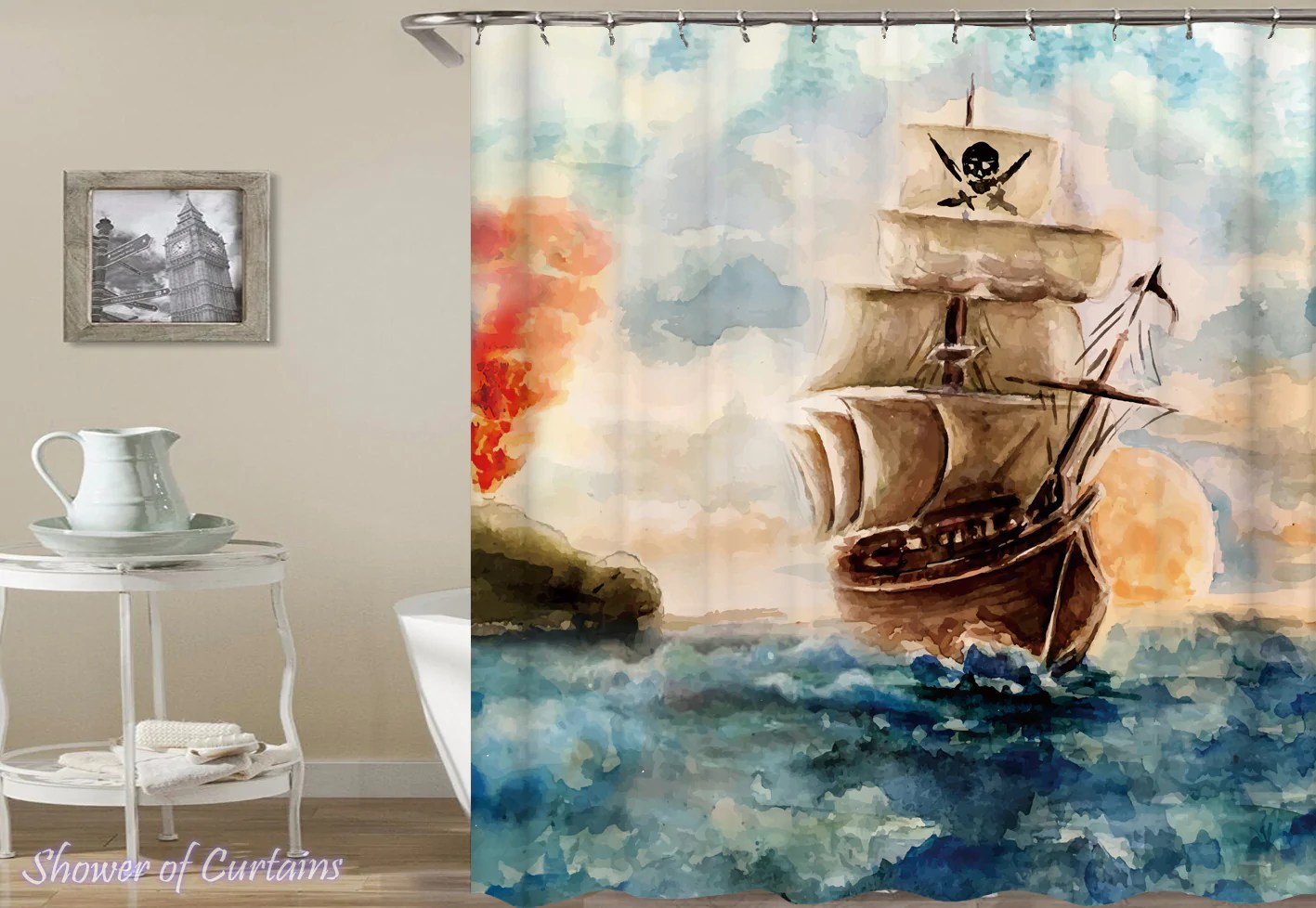 water painting pirate ship