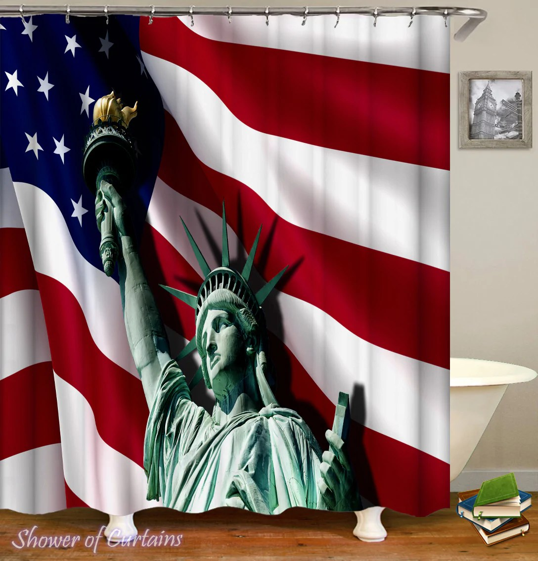 statue of liberty ft the american flag
