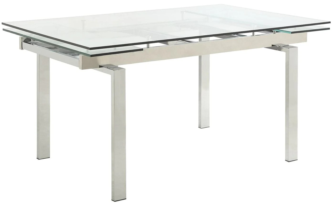 Coaster Wexford Chrome Extendable Glass Dining Table 106281