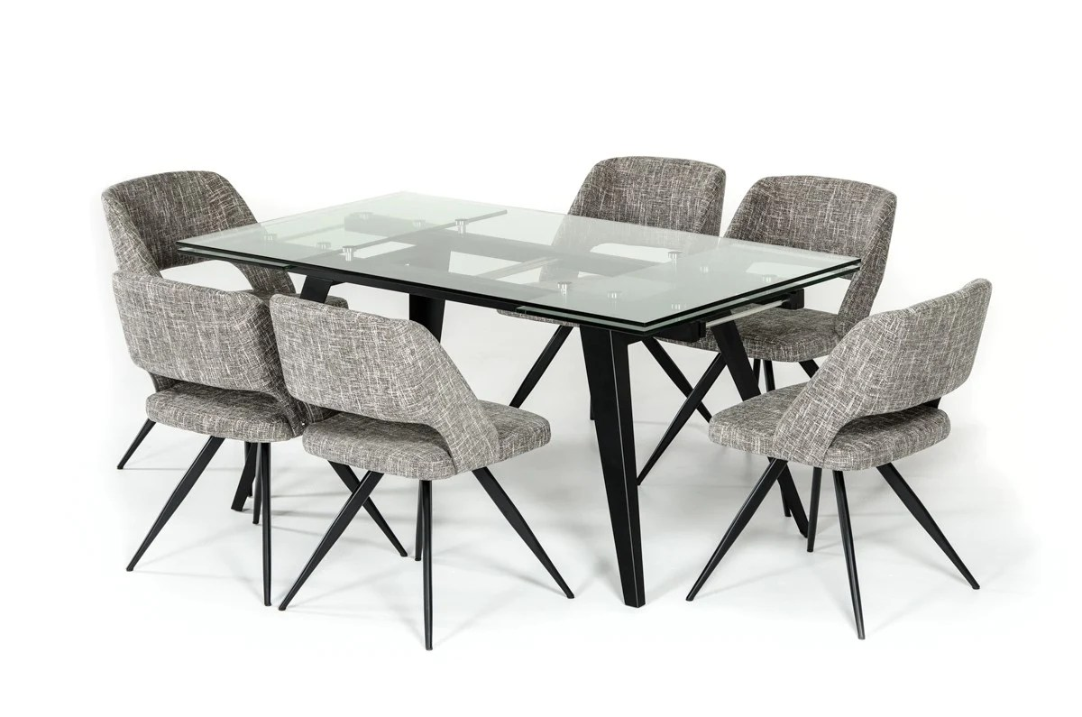 Modrest Glasgow Contemporary Extendable Glass Dining Table