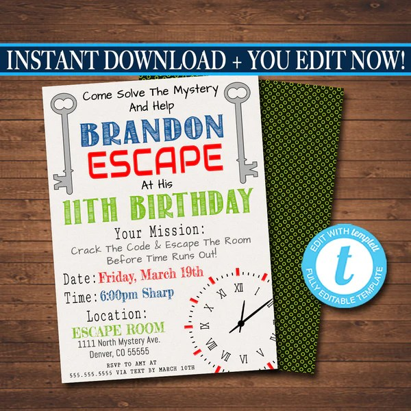 escape room birthday invitation boy