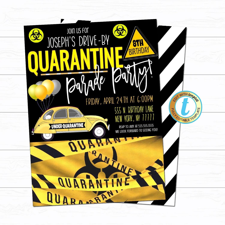 quarantine birthday party parade invite