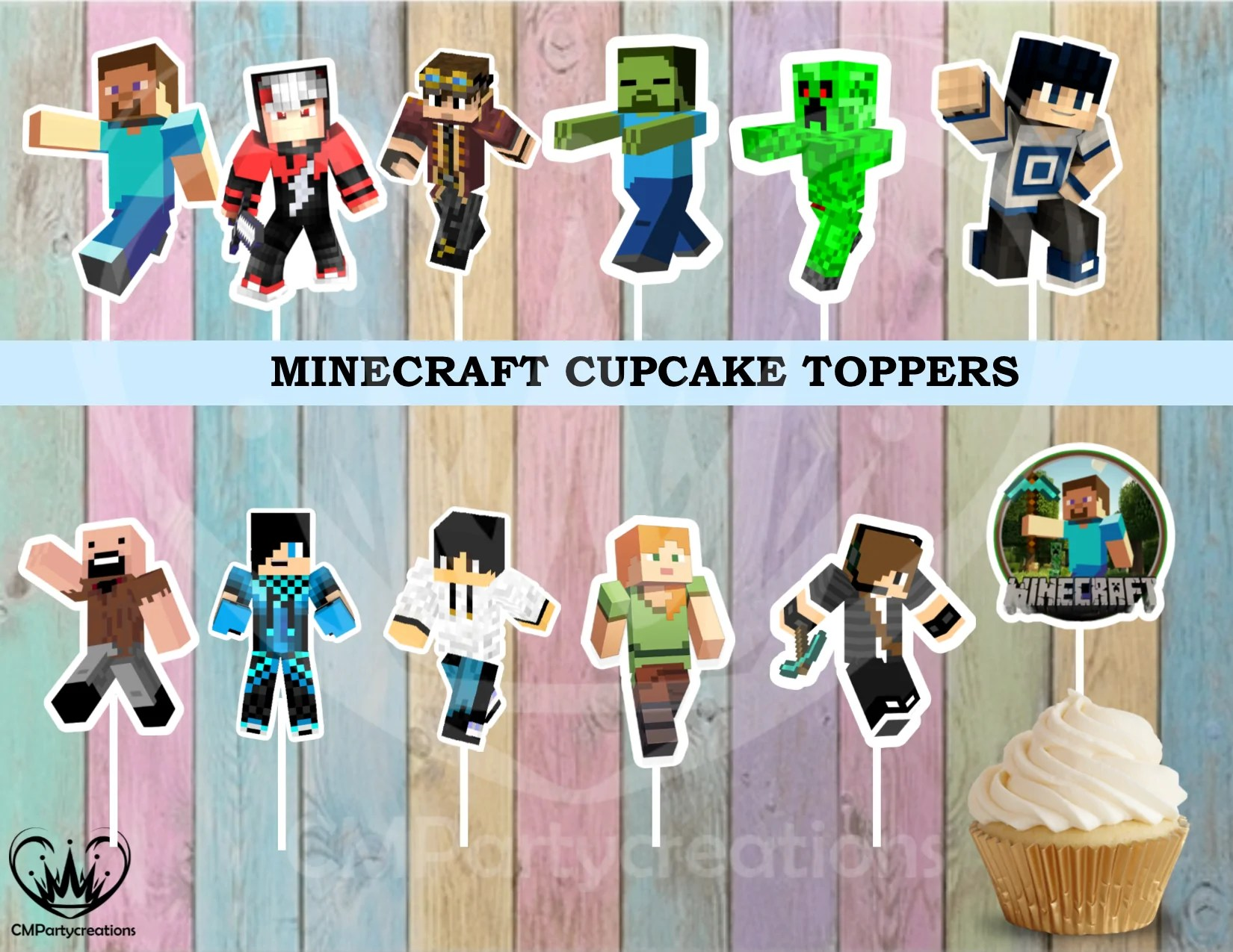 Minecraft Cupcake Toppers Birthday Party Cmpartycreations