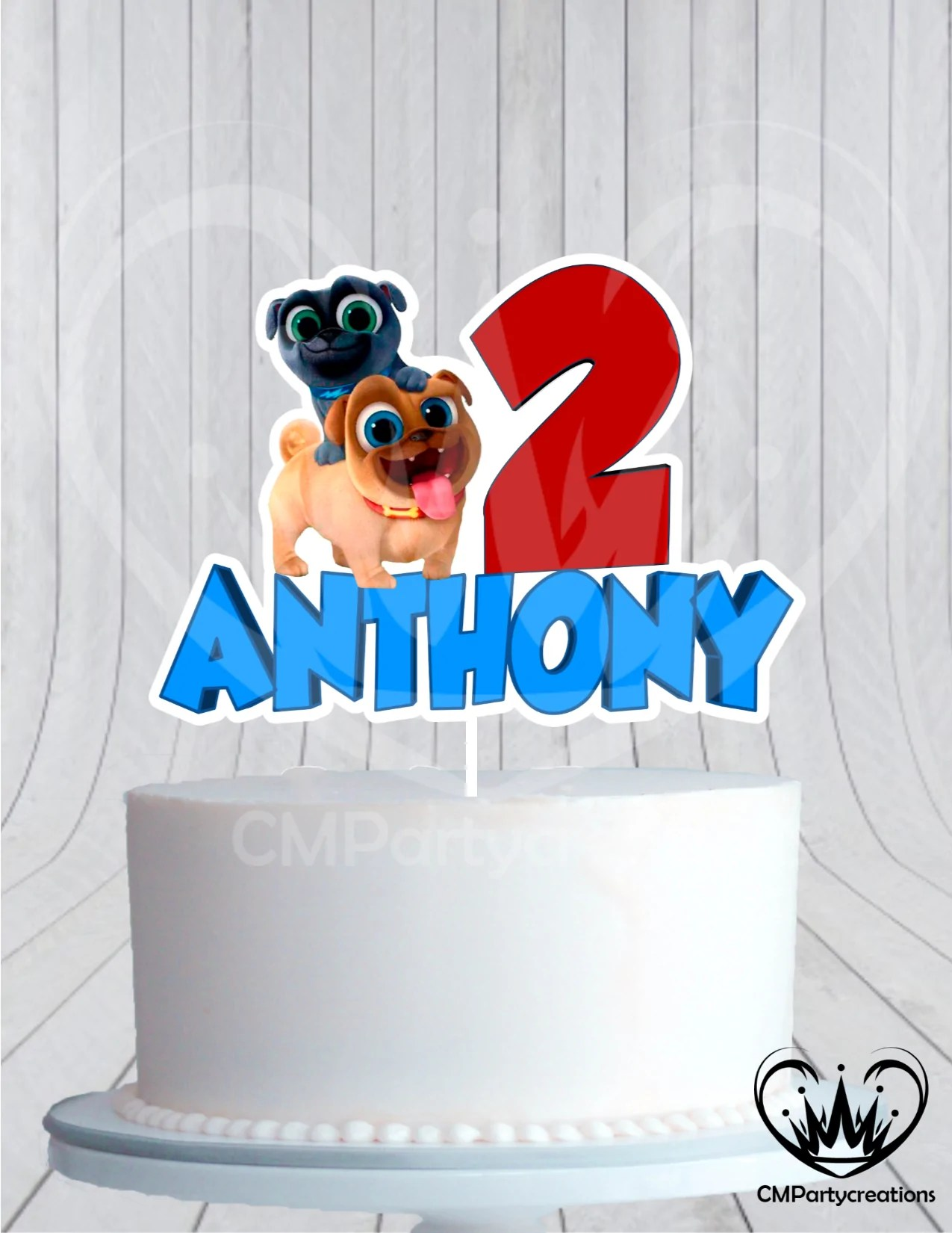 Puppy Dog Pals Birthday Cake Topper Blue Cmpartycreations