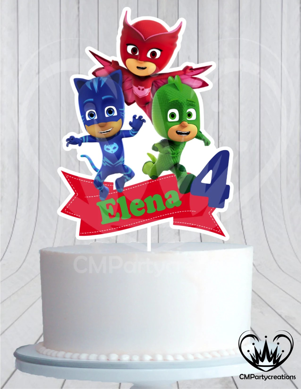 Pj Masks Birthday Party Cake Topper Cmpartycreations