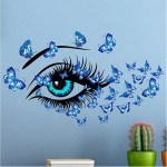 Living Room Bedroom Decorative Wall Stickers Blue Eyes Woman Butterfly Wall Art