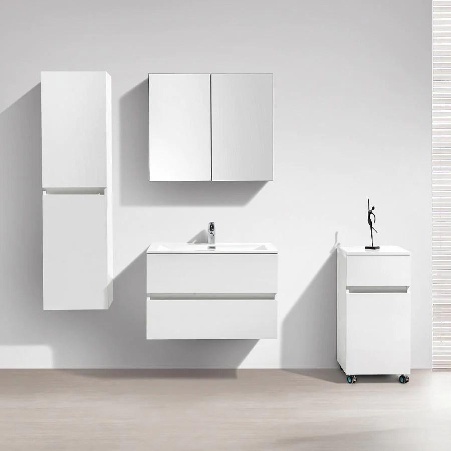 Meuble Salle De Bain Design Simple Vasque Siena Largeur 80 Cm Blanc L Swissbain