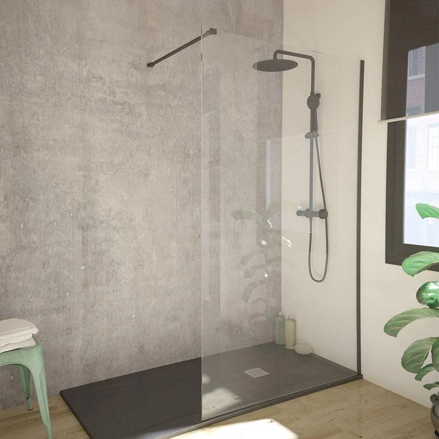 paroi de douche fixe single en verre 8 mm profil noir