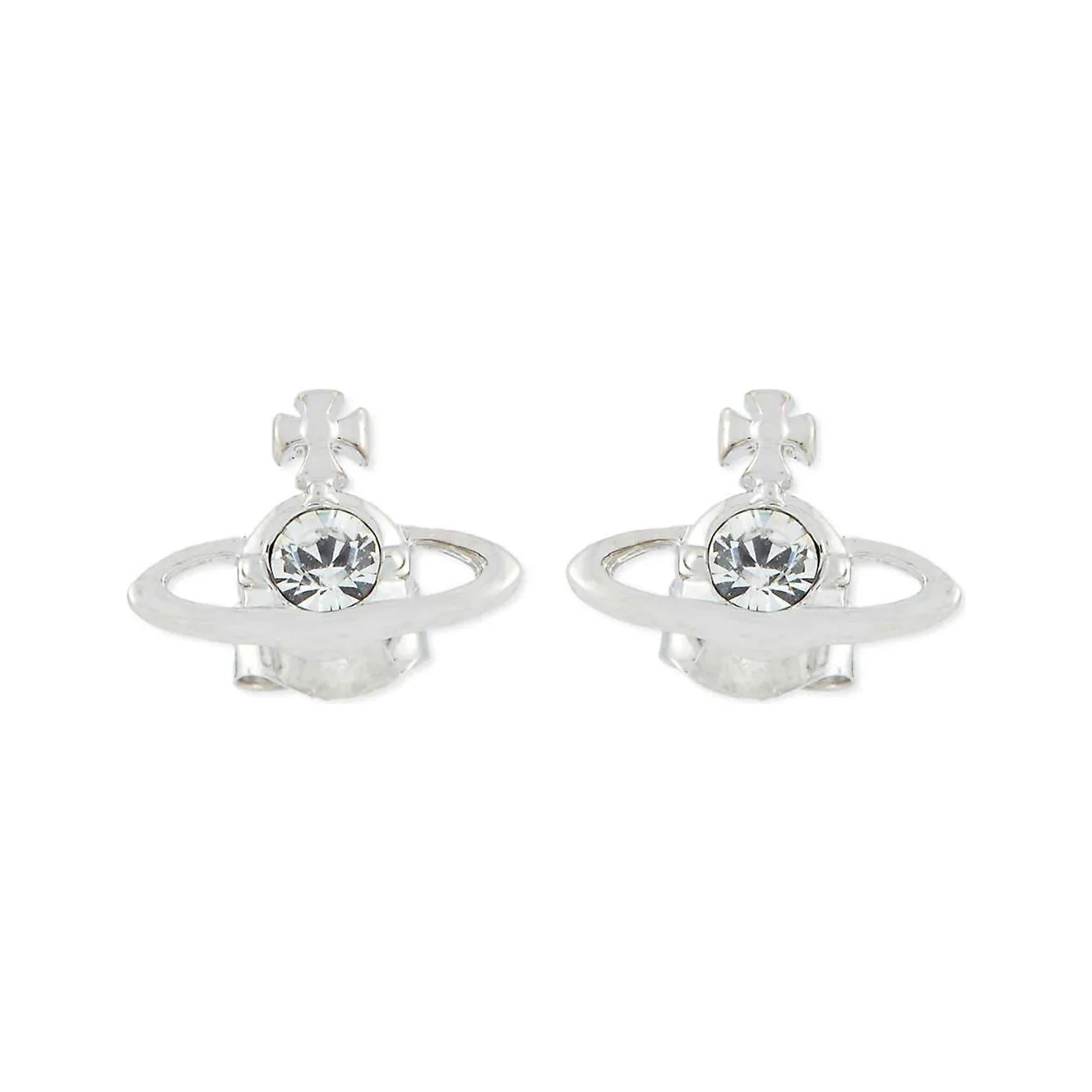 Vivienne Westwood Jewellery Nano Solitaire Earrings Rhodium Crystal Agathaboutiqueltd