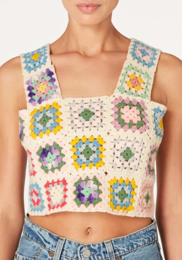 THE SERIES Vintage Handstitched Crochet Granny Top