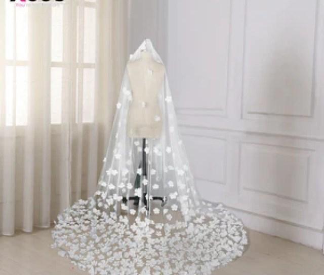 Bride Veils White Applique Tulle  Meters Veu De Noiva Long Wedding Veils