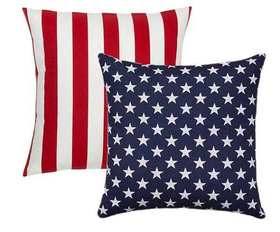 outdoor american flag reversible pillow cover 18x18 20x20 patriotic pillow stars and stripes pillow red white and blue july 4th decor