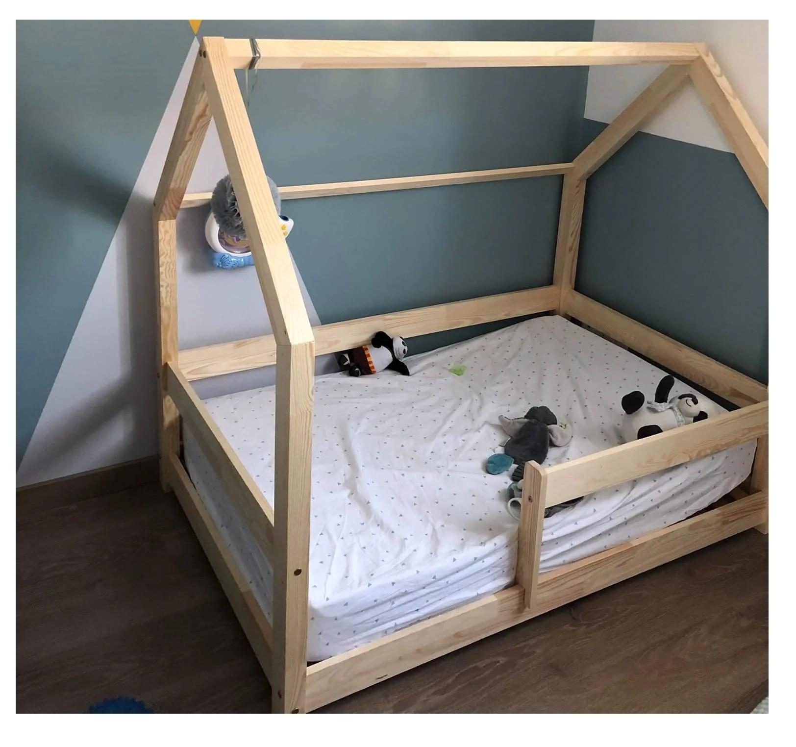 lit cabane montessori milo naturel avec ou sans barrieres
