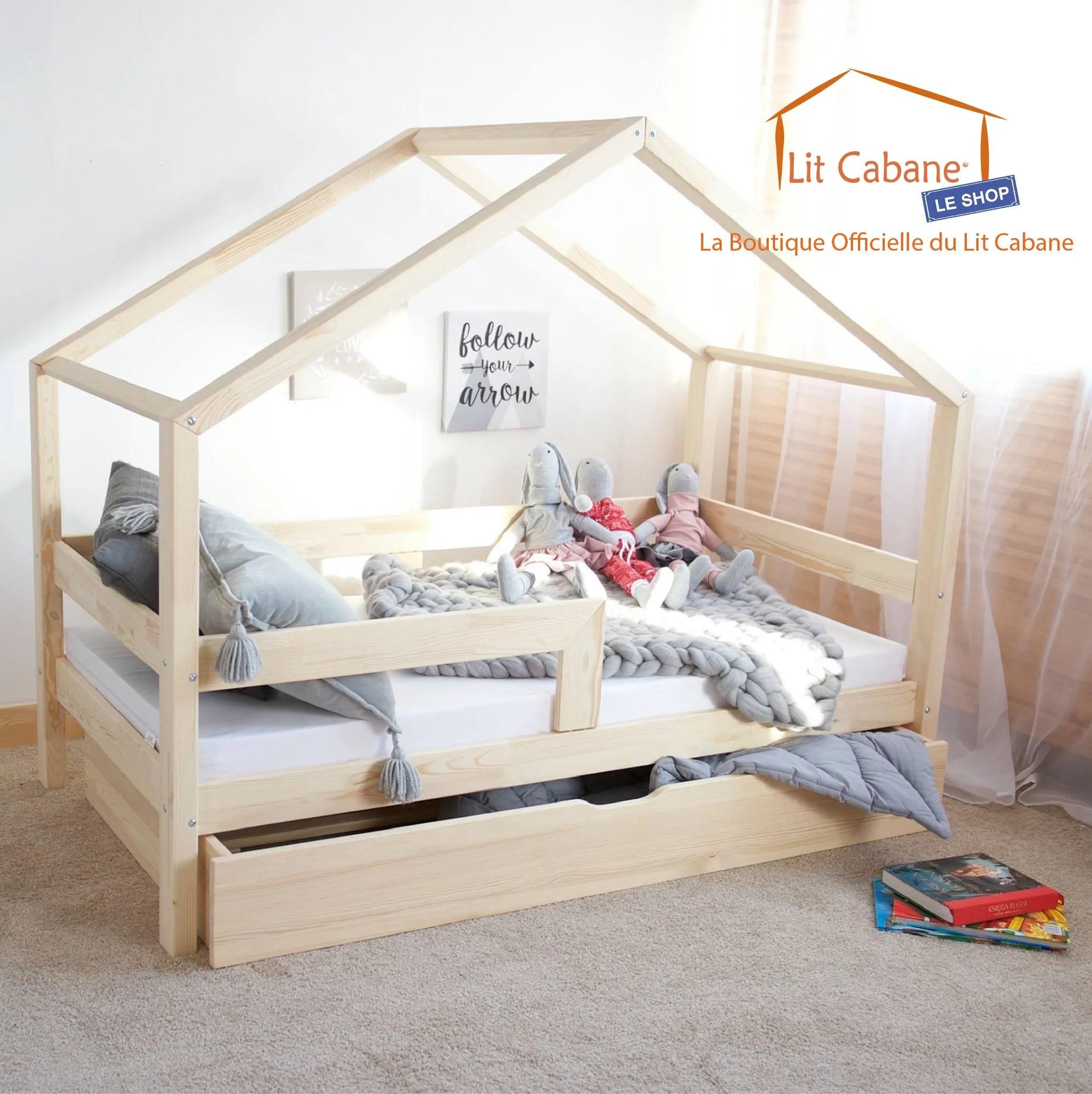lit cabane avec tiroir gigogne roma gris avec ou sans barrieres