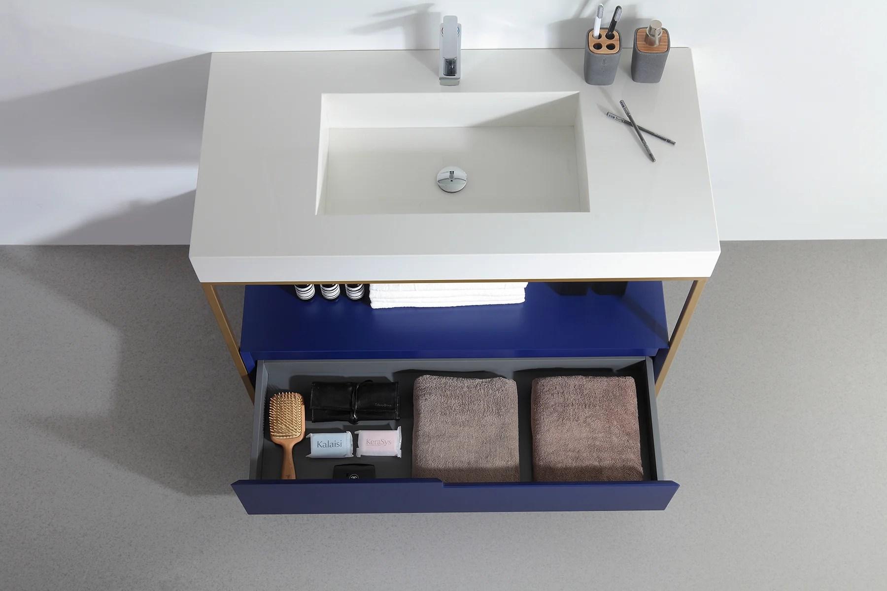 texel 42 navy blue industrial style freestanding bathroom vanity