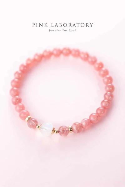 Rhodochrosite 紅紋石月亮石草莓晶14KGF手鍊 | Pink Laboratory
