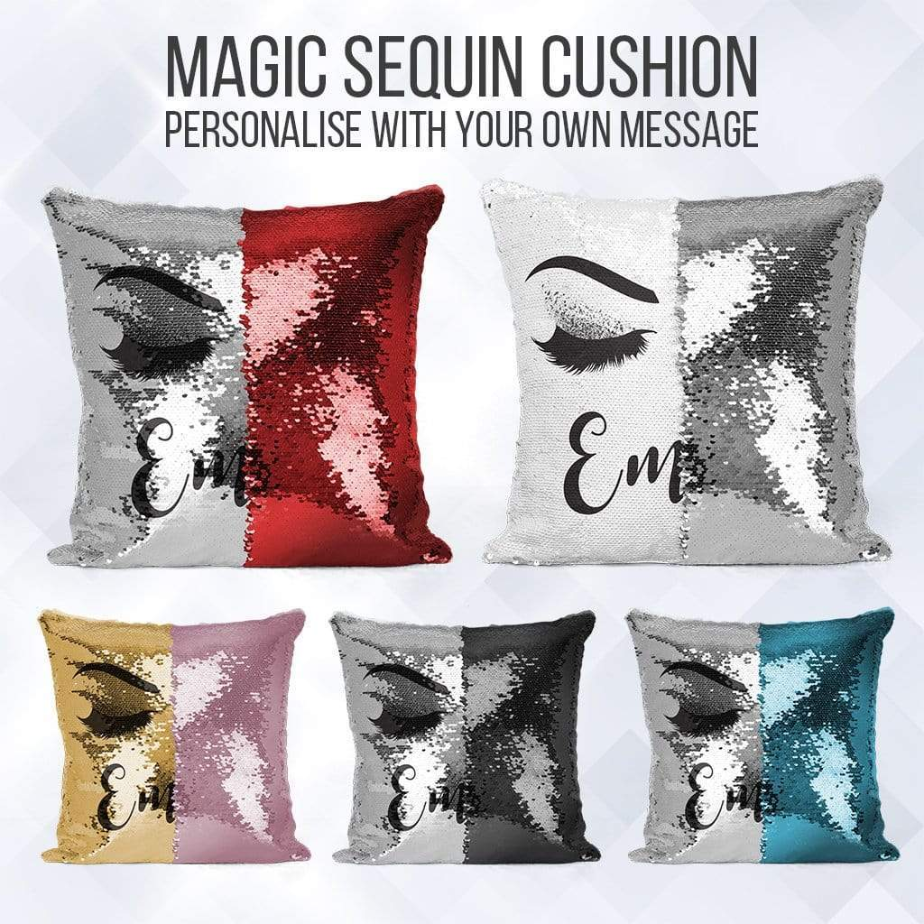 personalised mermaid sequin cushion eyelash reveal pillow case insert