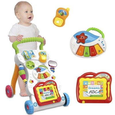 Baby Walker Toddler Trolley Sit-to-Stand Walker for Kid's Early Learning Educational Musical Adjustable Baby First Steps Car Hot - OurKids.Shop