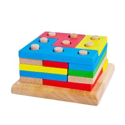 1set Wooden Column Shapes Stacking Toys Baby Preschool Educational Geometric Sorting Board Blocks Montessori Building Blocks - OurKids.Shop