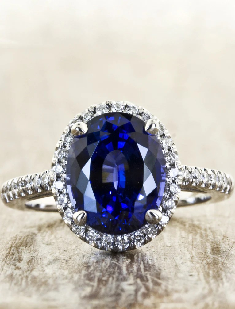 Camilla Oval Halo Sapphire Engagement Ring Ken Amp Dana
