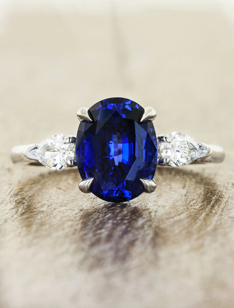 Permelia Sapphire Oval Sapphire Three Stone Ring Ken