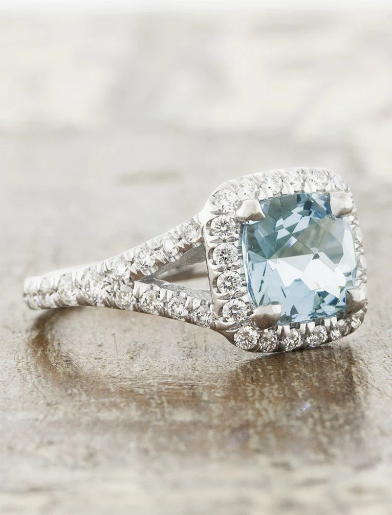 Diamond Aquamarine And Gold Rings Oval White Halo
