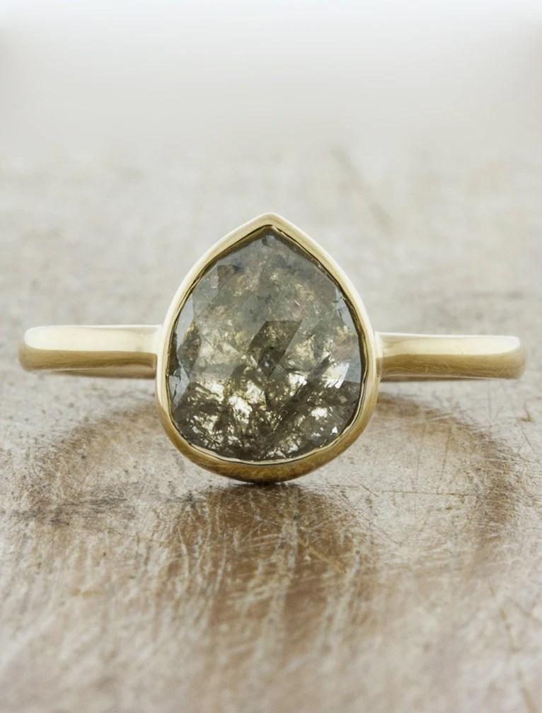 Zoe Bezel Set Pear Shape Diamond Engagement Ring Ken