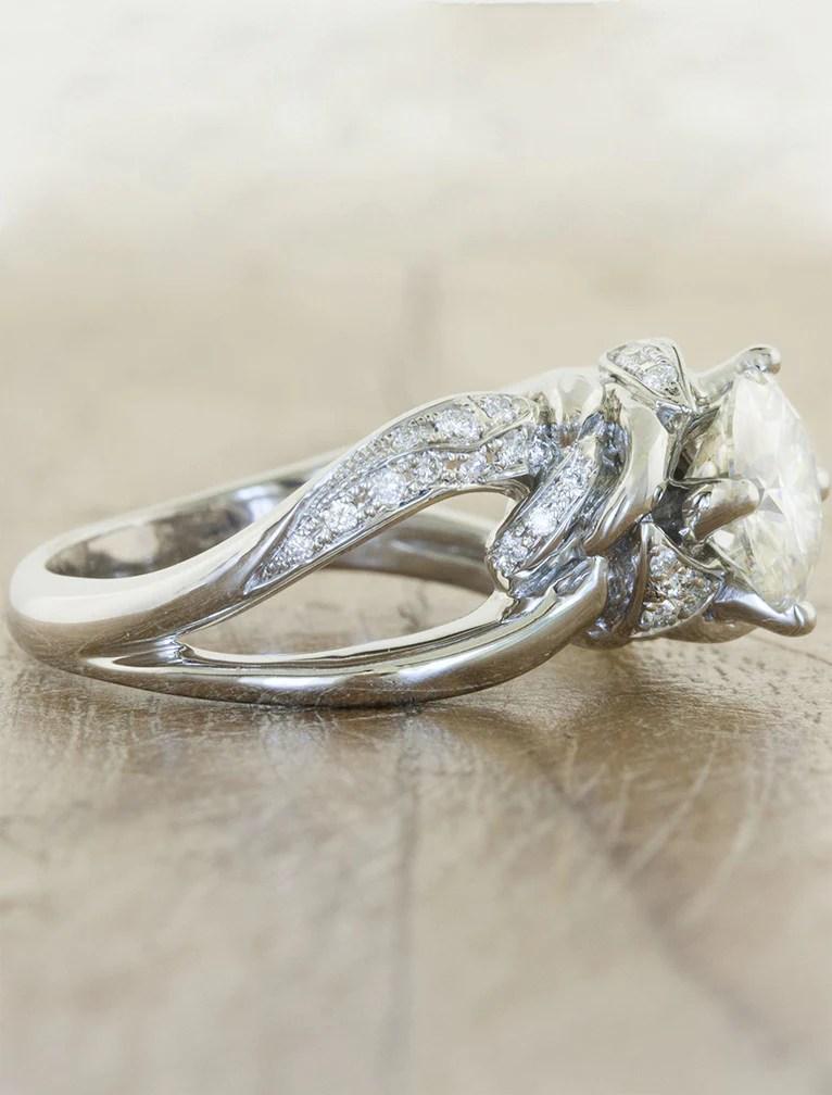 Mazie Wide Band Split Shank Round Diamond Ring Ken