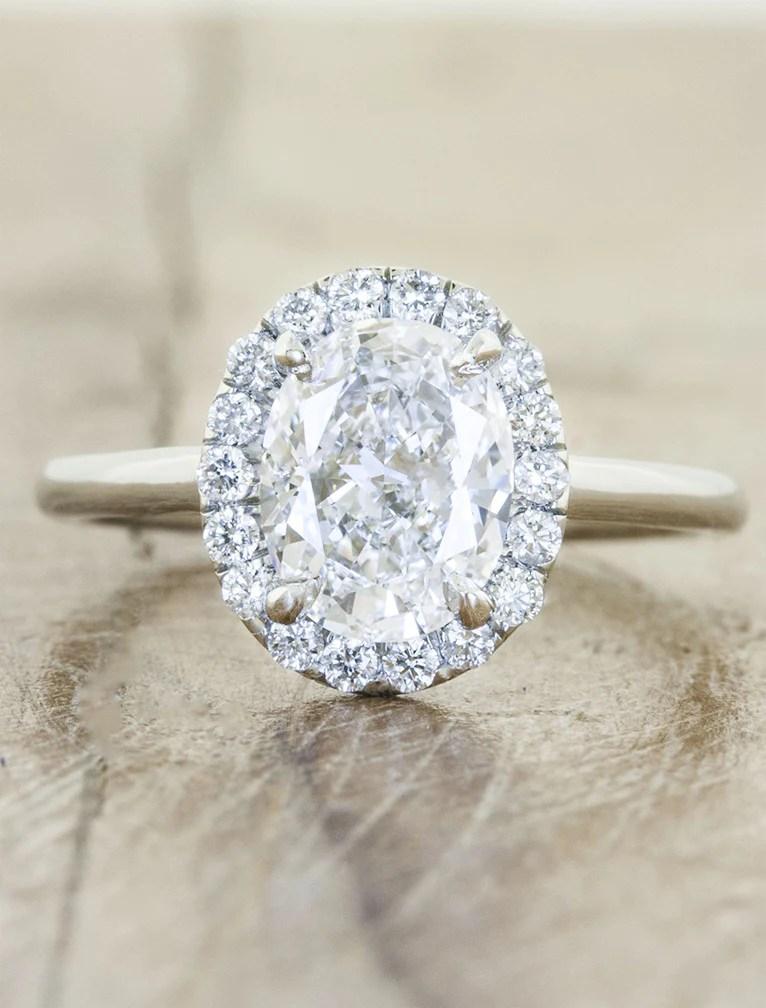 Cathy Modern Oval Diamond Halo Ring Ken Amp Dana Design