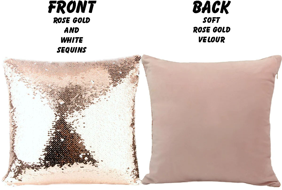 custom sequin pillow rose gold mermaid throw pillow gift personalize jin jin junction