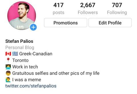 my instagram bio
