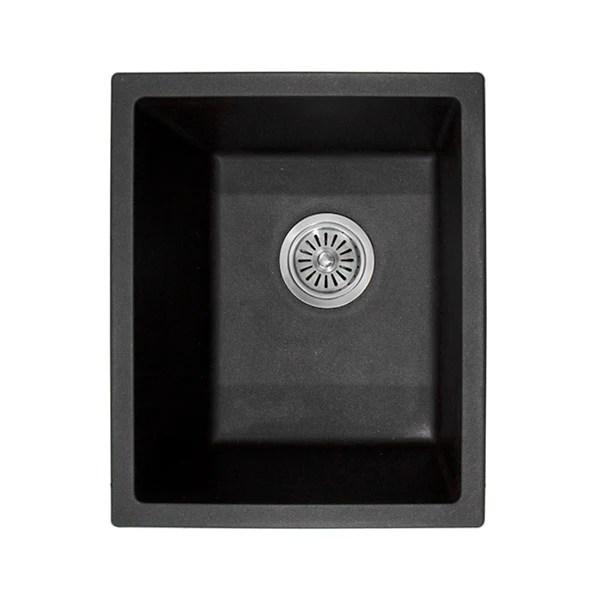 adp bellevue small matte black rectangular sink 380mm