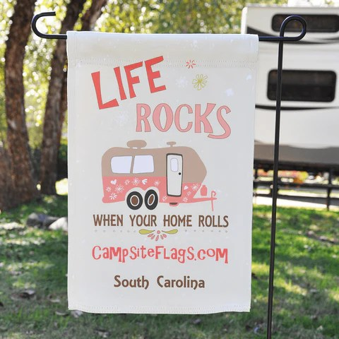 Life rocke when your home rolls personalized camping flag