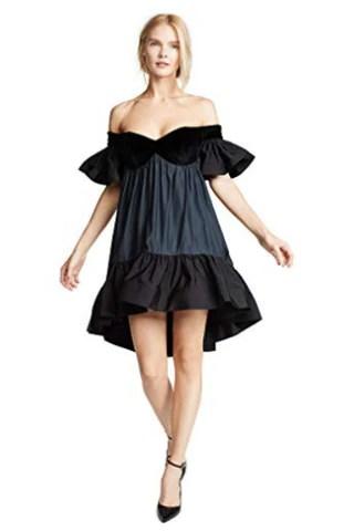 Vatanika Women's Ruffled Velvet Dress