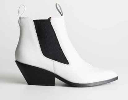 and other stories cowboy white ankle boots