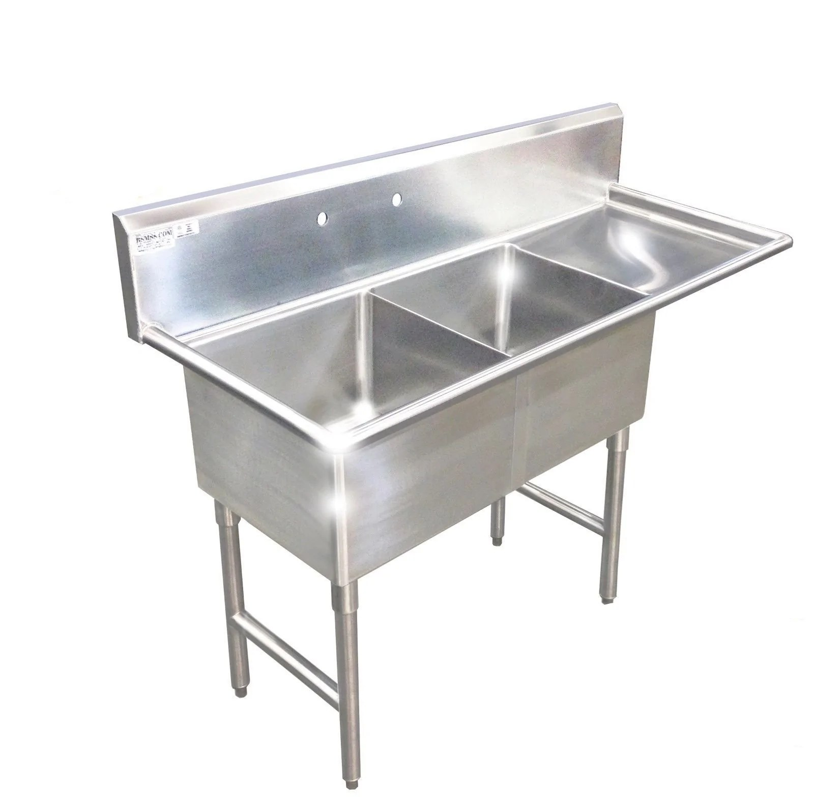 Heavy Duty Stainless Steel 14 Gauge 0 0781 Type 304 2 Compartment Restaurant Commercial Sink 56 1 2 With Drain Board S5624 181812 Commercial Stainless Steel Wash Up Sinks