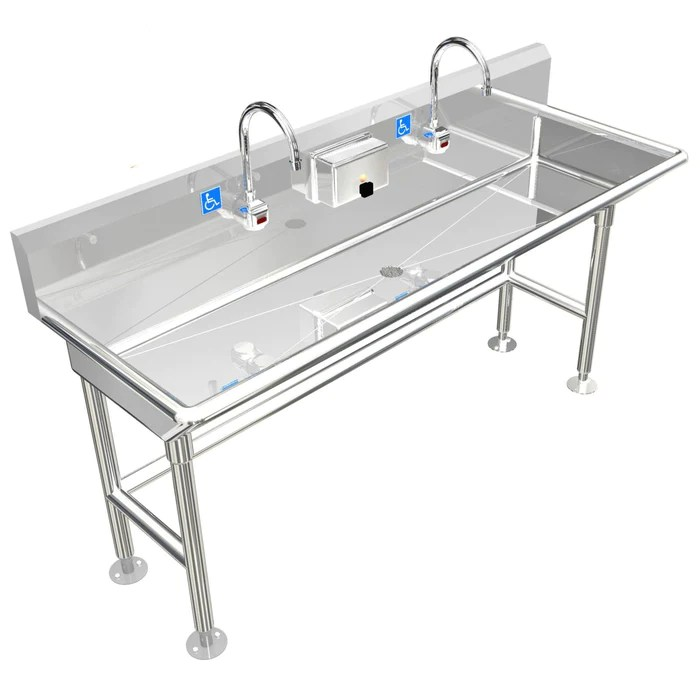 heavy duty 14 gauge 0 0781 type 304 stainless steel ada compliant multi station wash up sink 60 electronic faucet free standing