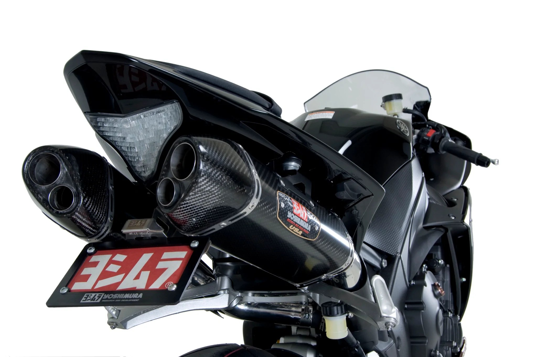 yzf r1 09 14 trc d stainless slip on exhaust w carbon fiber mufflers