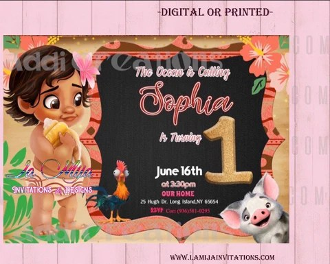 baby moana invitations customized item baby moana birthday invitations invitaciones bbay moana baby moana party invites baby moana party ideas