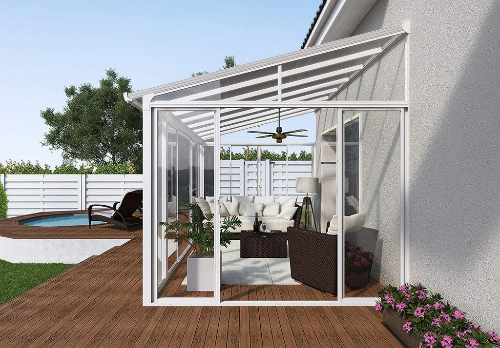 palram sanremo 10x18 patio enclosure kit white with pc roof