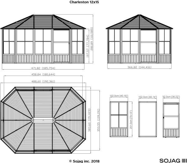 sojag charleston 4 season sunroom kit dark gray with steel roof